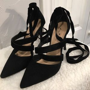 Black Suede with straps Heels
